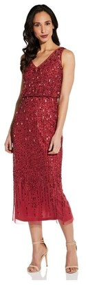 Adrianna Papell Sleevless Beaded Blouson Dress In Dusty Rouge