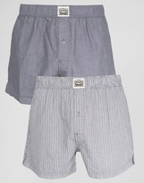 Levis Chambray Stripe Woven Boxers In 2 Pack Grey