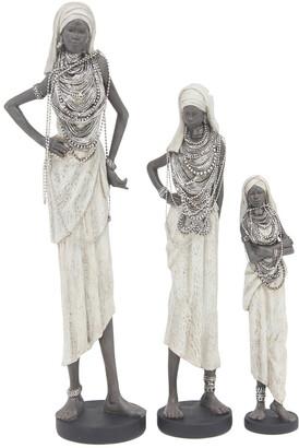 Uma Enterprises Uma Set Of 3 Eclectic Standing Tribal Women Figures