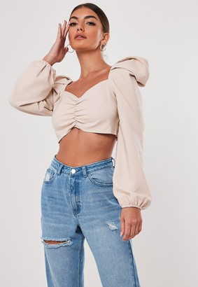 Missguided Stassie X Tall Blush Sweetheart Neckline Milkmaid Crop Top