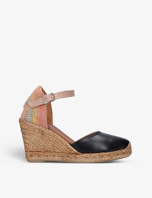 Kurt Geiger Monty leather and raffia wedge sandals