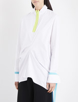 Martina Spetlova Neon-trim draped cotton-poplin shirt