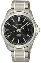 Seiko Sne141p1 Solar Powered Titanium Bracelet Strap Watch, Silver/black