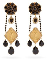 Dolce & Gabbana Madonna Crystal-embellished Clip Earrings - Womens - Black Gold