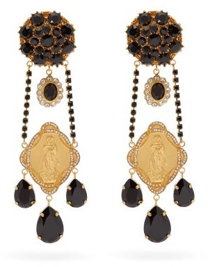 Dolce & Gabbana Madonna Crystal-embellished Clip Earrings - Black Gold
