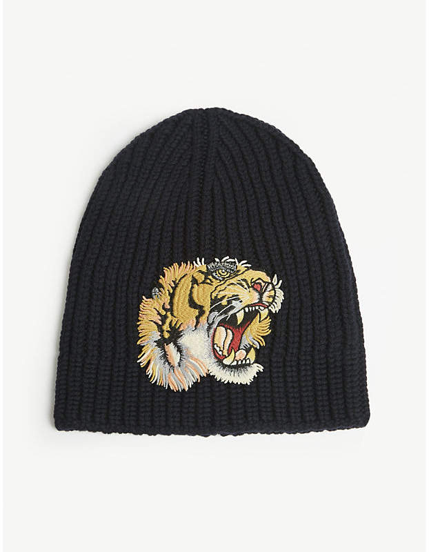 Gucci Tiger patch knitted wool beanie