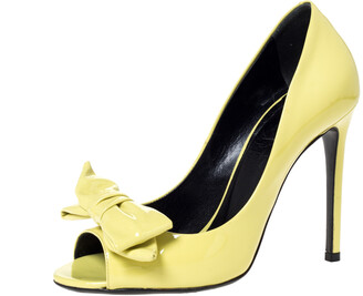 Gucci Yellow Patent Clodine Peep Toe Bow Pumps Size 36.5
