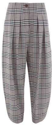 See by Chloe High-waist Tapered Checked-twill Trousers - Womens - Grey