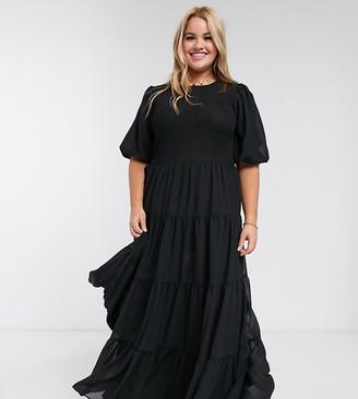 ASOS DESIGN Curve shirred tiered maxi dress in plain black