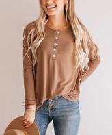 So Perla Affordable So Perla Affordable Women's Tunics Mocha - Mocha Button-Front Tunic - Women & Plus