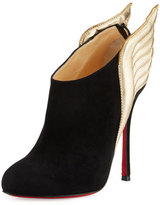 Christian Louboutin Mercura Wing 100mm Red Sole Bootie, Black/Light Gold