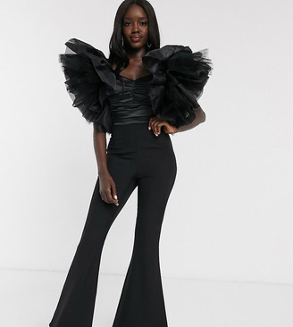 Dolly & Delicious exclusive wide leg jumpsuit with exaggerated tulle sleeve detail in black