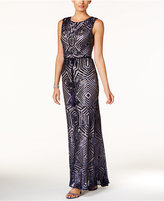 Vince Camuto Open-Back Sequined Tassel Gown
