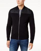 Michael Kors Men's Leather-Pieced Zip-Front Jacket