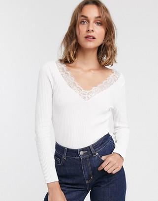 ASOS DESIGN lace trim v neck sweater
