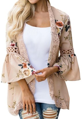 FNKDOR Spring Fashion Women Lace Floral Open Cape Casual Coat Loose Blouse Kimono Jacket Cardigan Tops (XL