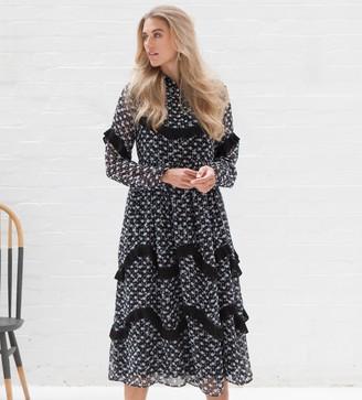 Jovonna London Black Lorenzo2 Ruffled Maxi Dress - extra small