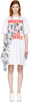 MSGM White Draped Floral Panel Dress