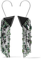 Saint Laurent Smoking Silver-tone, Resin And Crystal Clip Earrings