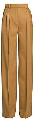 Fendi Women's High-Rise Birdseye Wool Wide-Leg Trousers