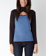 Yuka Paris Brown & Blue Cutout Turtleneck