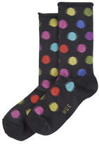 Hue Blurred Dots Roll Top Sock