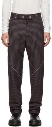 Kiko Kostadinov Burgundy Wool Rex Pinstripe Trousers