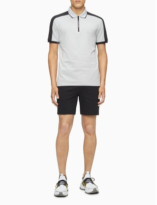 Calvin Klein Move 365 Logo Zip Colorblock Polo Shirt
