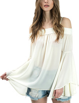 Bow & Arrow Cream Off-Shoulder Smock-Accent Bell-Sleeve Blouse