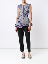 Jason Wu Floral Prince of Wales SleevelessPeplum Top With Floral Embellishment