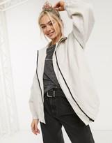 Asos Design DESIGN linen oversized bomber jacket in cream