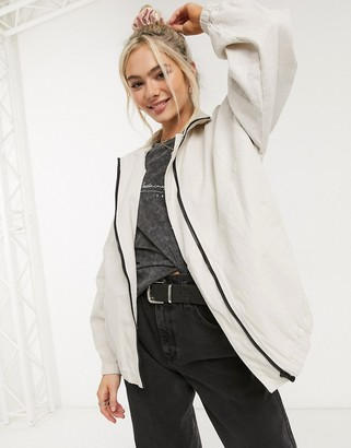 ASOS DESIGN linen oversized bomber jacket in cream