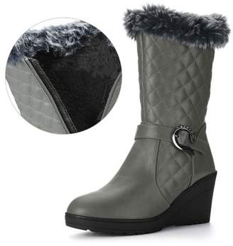 Unique Bargains Womens Buckled Strap Plush Quilted Wedge Heel Mid-Calf Boots