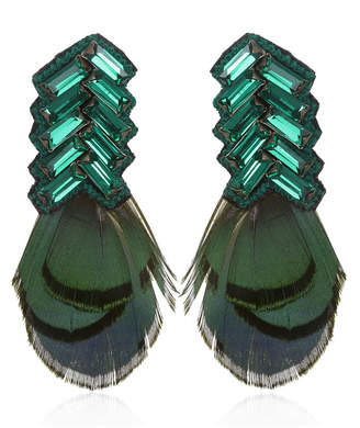 Suzanna Dai Bengal Chevron Feather Button Earrings