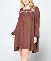 Simply Boho La Simply Boho LA Women's Casual Dresses mocha - Mocha Tie-Back Fringe-Detail Shift Dress - Women & Plus