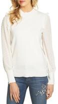 CeCe Women's Swiss Dot Chiffon Sleeve Sweater