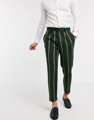 ASOS DESIGN smart tapered pants in green stripe
