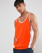 Asos Tank With Contrast Panels In Orange