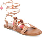 Madden-Girl Bailee Lace-Up Pom-Pom Sandals