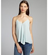 Chelsea Flower ice blue silk ruffle front camisole