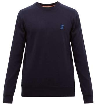 Burberry Declan Logo Embroidered Wool Sweater - Mens - Navy