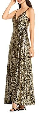 Aidan Mattox Sequin Leopard Print Wrap Gown
