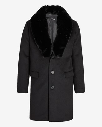 Express Black Removable Faux Fur Collar Wool-Blend Trench Coat