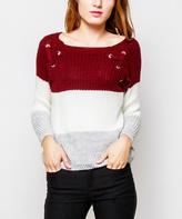 Wine & Cream Wide Stripe Grommet-Tie Sweater