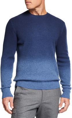 Neiman Marcus Men's Textured Ombre Crewneck Sweater