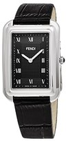 Fendi Men's 'Classico Rect' Swiss Quartz Stainless Steel and Leather Dress Watch, Color:Black (Model: F700011011)