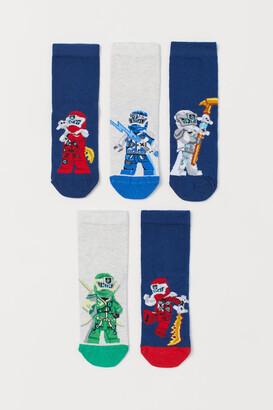 H&M 5-pack Patterned Socks - Blue