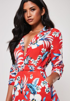 Missguided Red Floral Zip Front Blazer Playsuit