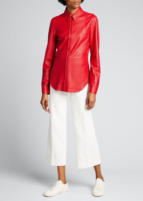 Akris Punto Perforated Lamb Leather Button-Down Blouse