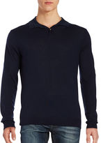 Black & Brown Black Brown Merino Wool Long Sleeve Polo Shirt